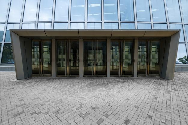 Shopping center entrance glass door