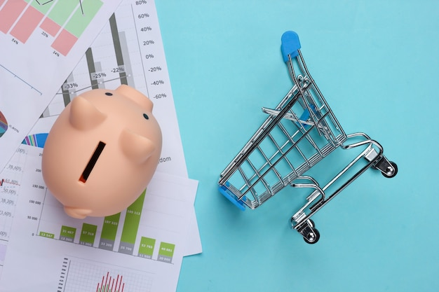 Shopping concept. piggy bank with graphs and charts, supermarket trolley on a blue