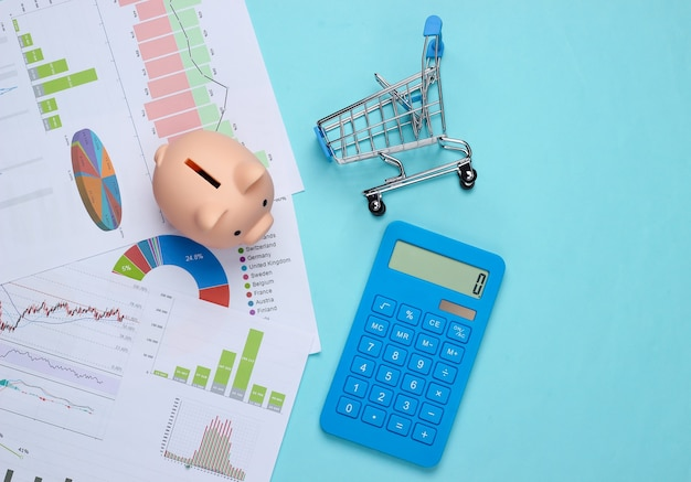 Shopping concept. piggy bank with graphs and charts, supermarket trolley, calculator on a blue