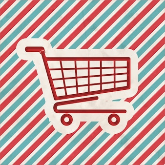 Shopping concept on red and blue striped background. vintage concept in flat design.