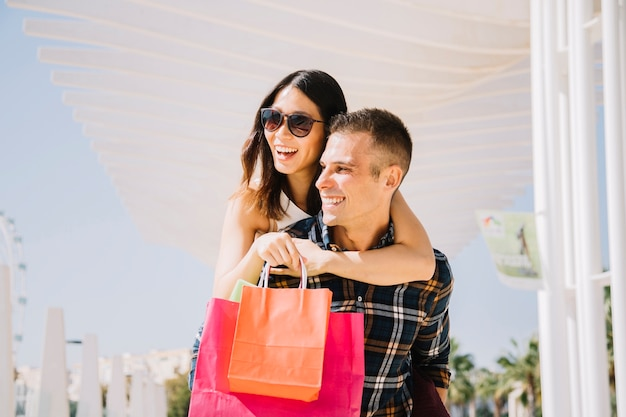 Shopping concept with couple in love