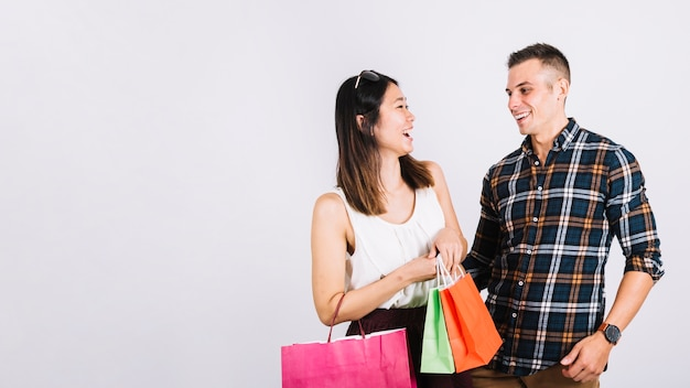 Shopping concept with couple and space