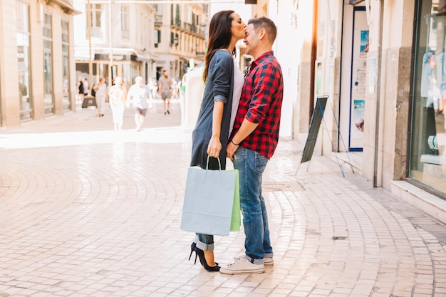 Shopping concept with girlfriend looking to store