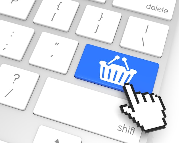Shopping enter key with hand cursor. 3d rendering