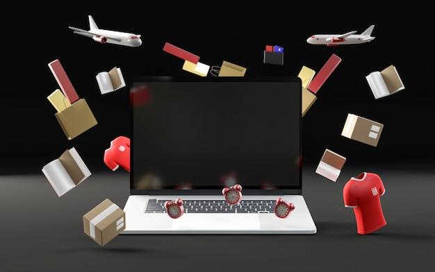 Торговое мероприятие с ноутбуком