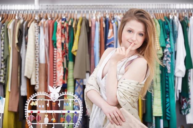 Shopping at fashion store
