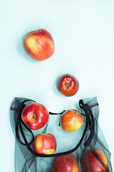 Shopping for groceries with a multi-use bag to reduce ecological footprint