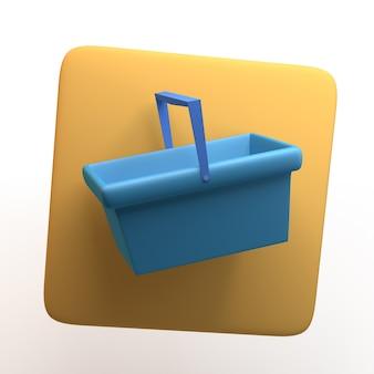 Значок покупок с корзиной, изолированные на белом фоне. приложение. 3d иллюстрации.