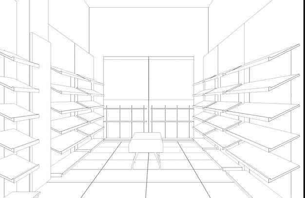 쇼핑몰 윤곽 시각화 3d 그림 스케치 개요