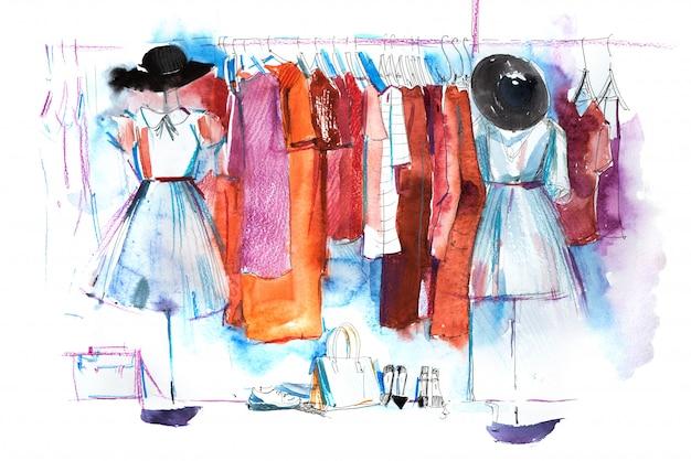 Торговый центр, магазин одежды, выставка акварельной иллюстрации