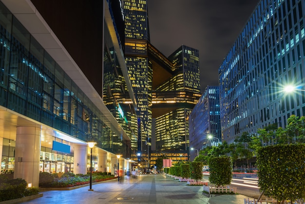 Shopping malls in business streets at night