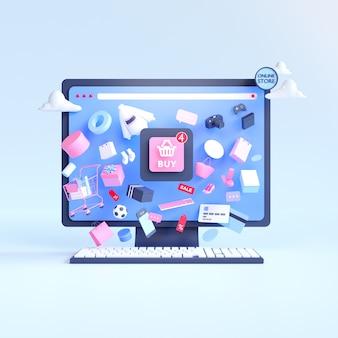Покупки онлайн. интернет-магазин на сайте или в мобильном приложении. 3d рендеринг фон. магазин цифрового маркетинга