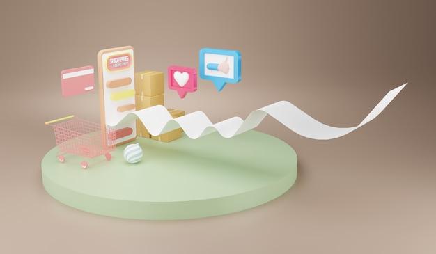 스마트 폰에서 쇼핑. 온라인 상점, 스마트 폰을 통한 온라인 거래, 3d 일러스트