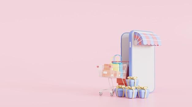 웹사이트 또는 모바일 애플리케이션에서 쇼핑하기 개념 마케팅 및 디지털 마케팅. 모형 3d 그림입니다. 온라인 스토어용