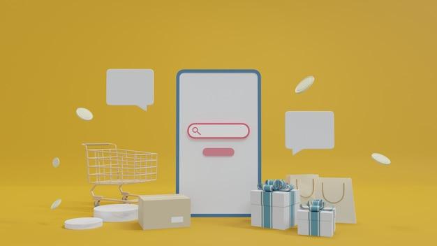 Покупки в интернете, концепция доставки и посылочный ящик