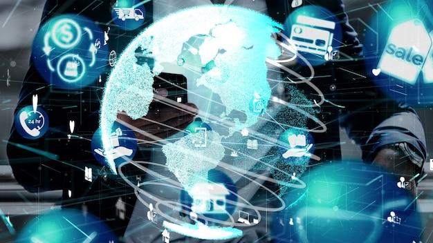 オンラインショッピングとインターネットマネーテクノロジーの概念