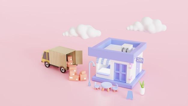 쇼핑 온라인 배달 물류 개념입니다. 집과 사무실을 배달합니다. 창고, 트럭, 배달 응용 프로그램 3d 렌더링 그림