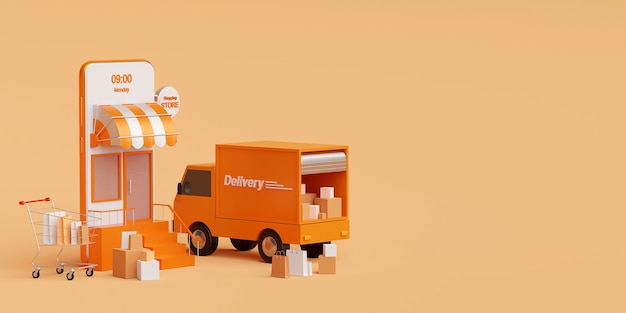 Shopping online and delivery service on mobile application 3d rendering