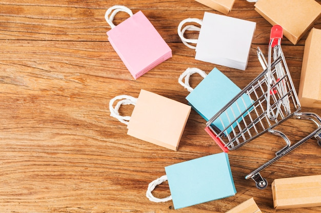 Shopping online at home concept.online shopping is a form of electronic commerce that allows consumers to directly buy