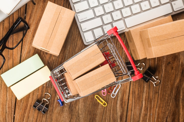 Shopping online at home concept