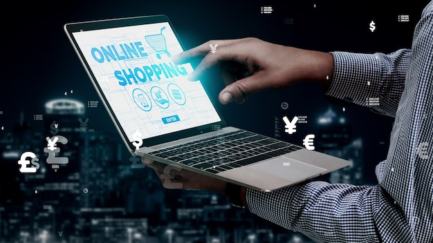 Shopping online and internet money technology conceptual