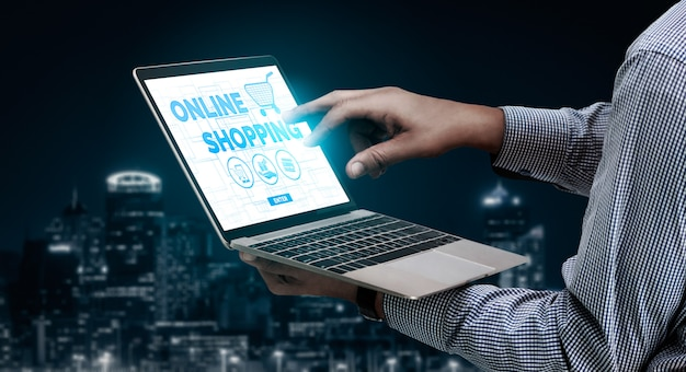 Shopping online and internet money technology
