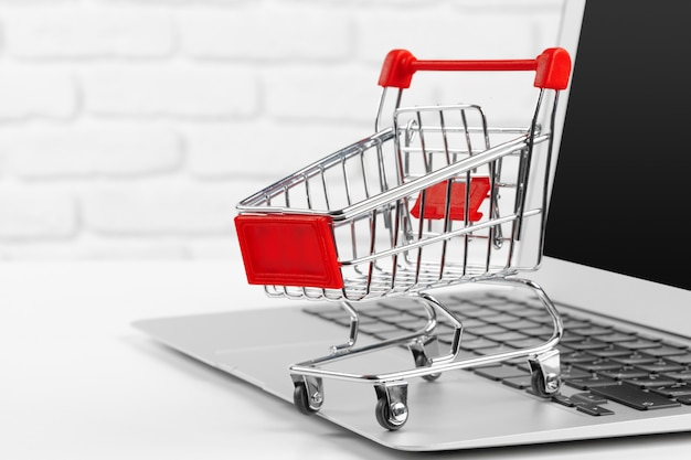 Shopping online   mini shopping cart and laptop