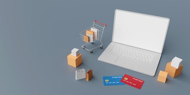 ノートパソコンのコンセプトでオンラインショッピング