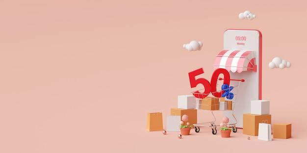Покупки в интернете на мобильном телефоне со скидкой до 50%. 3d иллюстрации
