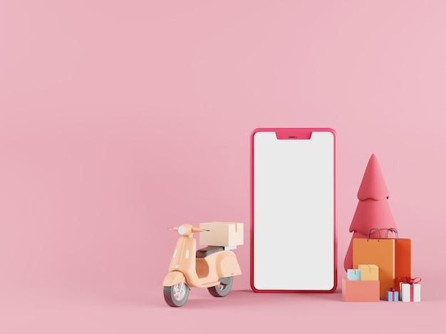 Покупки в интернете в мобильном приложении для смартфонов, быстрая доставка - 3d-рендеринг