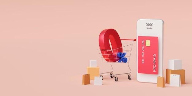 Покупки в интернете на смартфоне со специальным предложением, рассрочка платежа 0%, 3d иллюстрация
