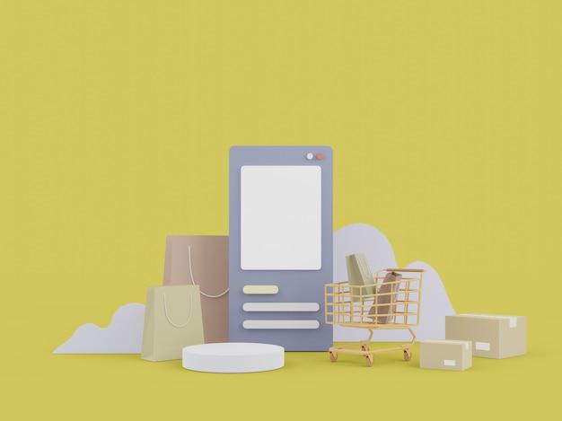 웹 사이트에서 온라인 쇼핑. 모바일 응용 프로그램 온라인 쇼핑. 배달 개념. 3d 일러스트레이션