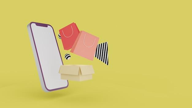 Покупки в интернете на сайте. мобильное приложение для интернет-покупок. концепция доставки. 3d рендеринг