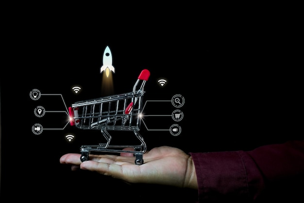 Shopping online photo concept with infographic detail