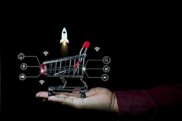 인포 그래픽 세부 사항이있는 쇼핑 온라인 사진 컨셉
