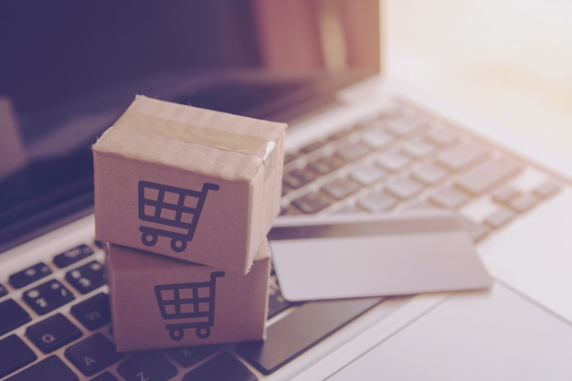 Shopping online shopping service on the online web. with payment by credit card on laptop