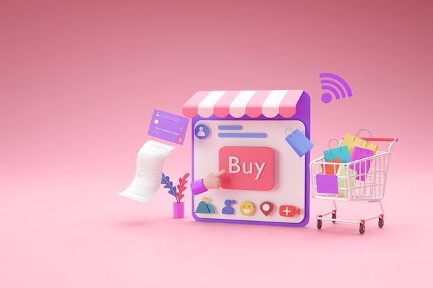 소셜 미디어 응용 프로그램 개념으로 쇼핑 온라인 상점, 3d 렌더링