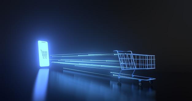 Shopping online on website or mobile application.