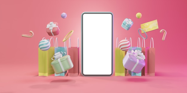 Shopping online with smartphone. marketing and digital marketing, christmas gift box, balls, social advertising, 3d illustration