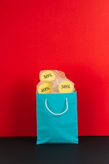 Shopping package with sale stickers