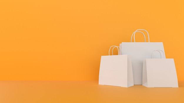 Shopping paper bags with copyspace