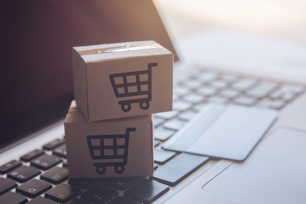 Shopping service on the online web. with payment by credit card and offers home delivery