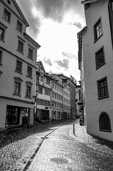 Shopping street in old town in st gallen