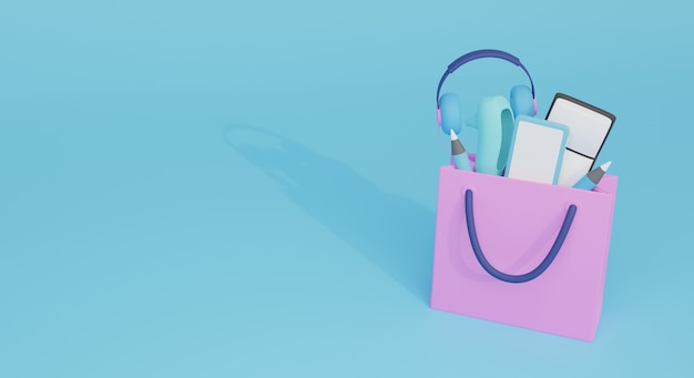 Shopping stuff out of the shopping bag. perfect for shopping banner