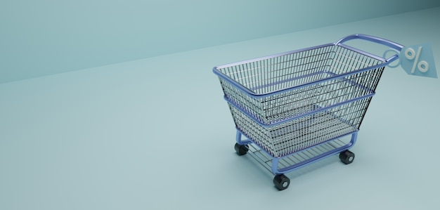 Shopping or supermarket trolley with discount sale sign in blue surface
