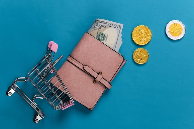 Shopping theme. supermarket trolley and wallet with money on a blue