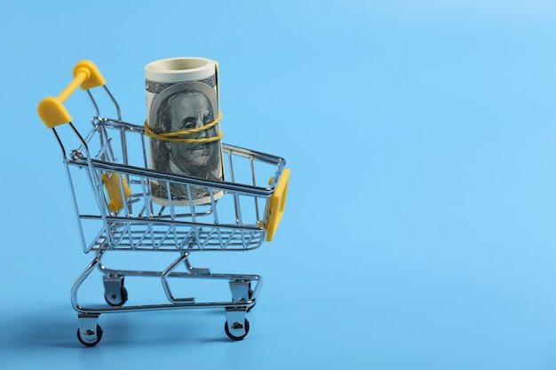 Shopping time. dollars roll in shopping cart on blue