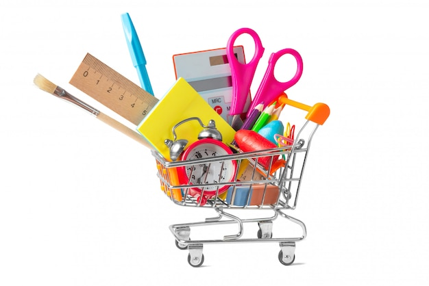 Shopping trolley filled with multicolored school supplies isolated on white