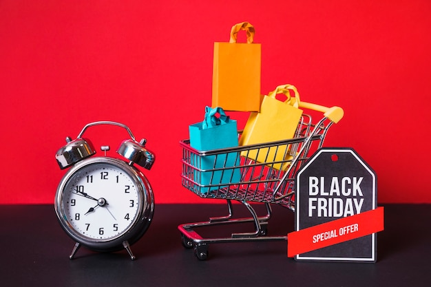 Shopping trolley, little packets, alarm clock and sign