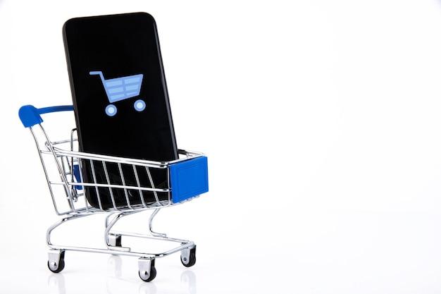 쇼핑 트롤리, 휴대 전화, 쇼핑 카트 아이콘, 전자 상거래, 디지털 상거래, 흰색 소매